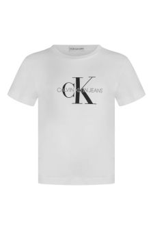 Kids White Cotton Logo T-Shirt