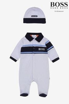 BOSS Blue Babygrow And Hat Gift Set