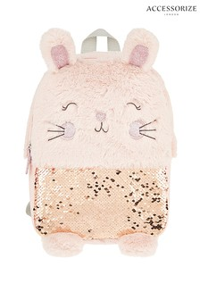 Accessorize Pink Bella Bunny Fluffy Backpack