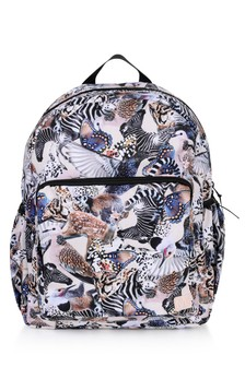 Girls Pink Animal Print Backpack