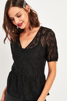 Lace Button Through Top