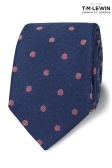 T.M. Lewin Slim Navy And Pink Spot Wool Silk Tie