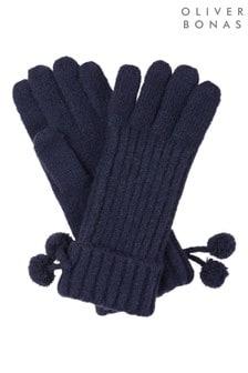 Oliver Bonas Ribbed Navy Pom Pom Gloves