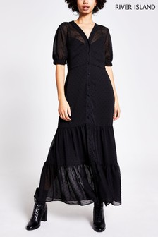 River Island Black Dobby Smock Shirt Midi Dress