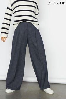Jigsaw Blue Crosshatch Palazzo Trousers