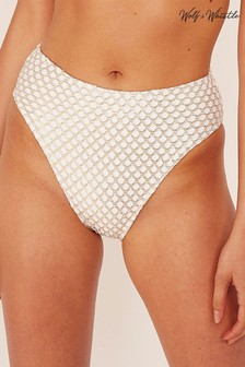 Wolf & Whistle Gold Fishnet High Waist Bikini Briefs