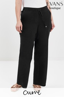 Evans Curve Black Linen Blend Regular Trousers
