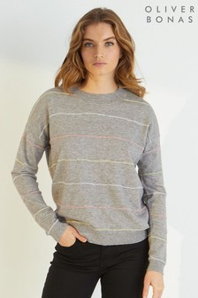Oliver Bonas Grey Striped Stitch Knitted Jumper