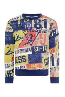 Boys Yellow Geometric Print Cotton Sweater
