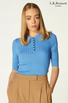 L.K. Bennett Blue Marina Ribbed Polo Shirt With Dome Buttons