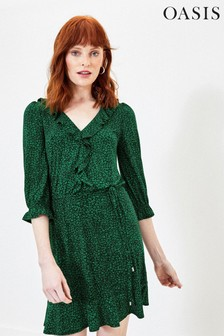 Oasis Green Ditsy Ruffle Tea Dress