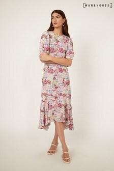 Warehouse Black Sophia Floral Midi Dress