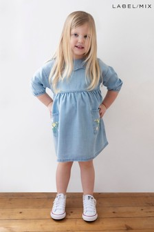 Mix/Alice Archer Embroidered Tencel Smock Dress