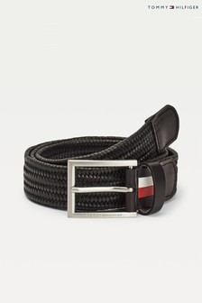 Tommy Hilfiger Black Formal Braided Leather Belt