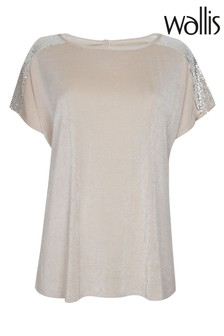Wallis Cream Oyster Sequin Detail Top