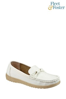 Fleet & Foster White Paros Loafer Shoes