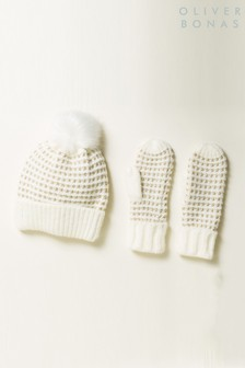 Oliver Bonas Honeycomb White Pom Beanie & Mittens Gift Set