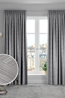 Grey Graphic Jacquard Made to Measure Curtains
