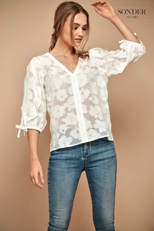 Sonder Studio Ivory Burnout Ruffle Top