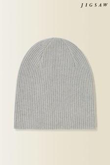 Jigsaw Grey Velvet Cashmere Hat
