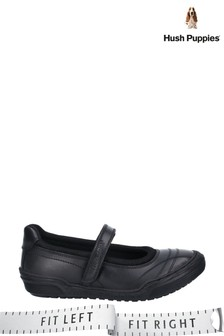 Hush Puppies Black Amelia Touch Fastening School Shoes