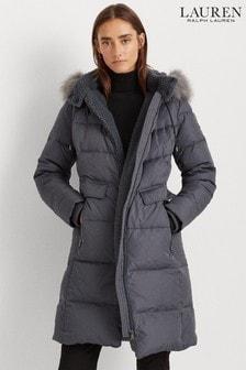 Lauren Ralph Lauren® Slate Grey Maxi Faux Fur Trim Coat