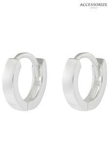 Accessorize Sterling Silver Plain Mini Huggie Hoop Earrings
