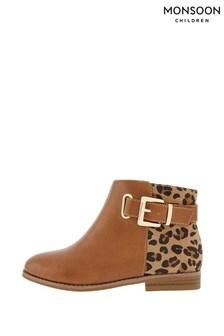 Monsoon Tan Mollie Buckle Animal Boots