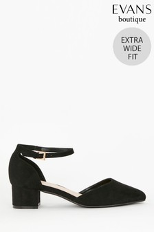 Evans Black Extra Wide Fit Low Block Heels