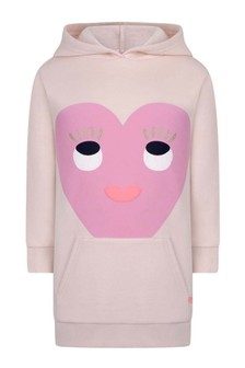 Girls Pale Pink Hooded Sweater Dress