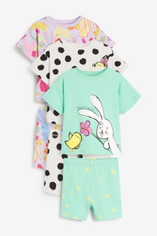 3 Pack Bunny/Chick Short Cotton Pyjamas With Boxy Tops (9mths-12yrs)