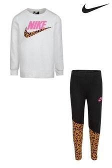 Nike Little Kids White Wild Top And Leggings Set