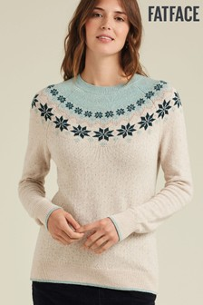 FatFace Natural Snowflake Fairisle Pattern Jumper