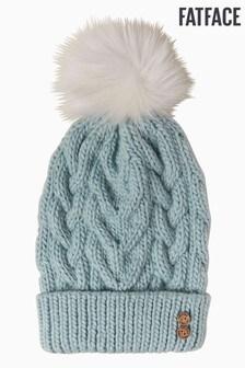 FatFace Green Crochet Pom Beanie Hat