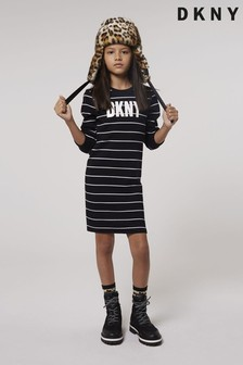DKNY Black Stripe Logo Dress