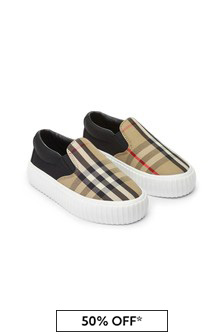 Kids Vintage Check & Black Slip-On Trainers