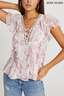 River Island Pink Tie Front Ruffle Top
