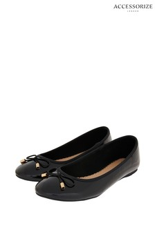 Accessorize Black Patent Ballerina Shoes