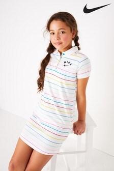 Nike White Candy Stripe Polo Dress