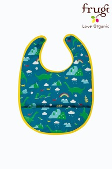 Frugi Blue Recycled Nessie Print Sleeveless Catcher Bib
