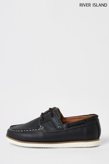 River Island Blue Rubber Patched Boat Shoes