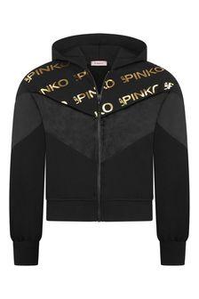 Pinko Girls Black/Gold Chenille Zip-Up Top
