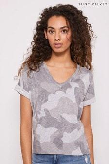 Mint Velvet Silver Grey Camo Print T-Shirt