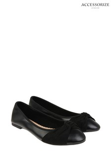 Accessorize Black Twisterling Silver Front Ballerinas