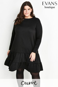 Evans Curve Black Tiered Sweater Dress