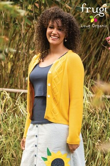 Frugi GOTS Organic Breastfeeding Cardigan In Bumble Bee Yellow