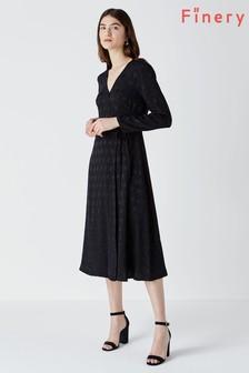 Czarna żakardowa kopertowa sukienka Finery Tilson