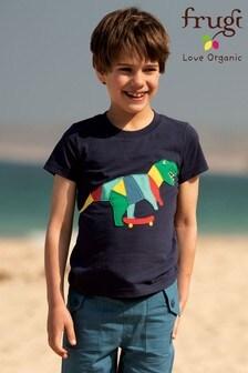 Frugi GOTS Organic Blue Dinosaur Short Sleeve T-Shirt
