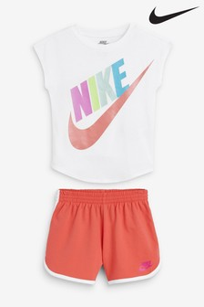 Nike Little Kids White/Orange Futura T-Shirt And Short Set
