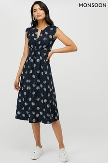 Monsoon Ladies Blue Dani Print Midi Dress